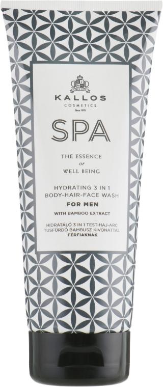 3in1 Feuchtigkeitsspendendes Gelshampoo für Gesicht, Körper und Haar mit Bambusextrakt - Kallos Cosmetics Spa Hydrating 3in1 Body-Hair-Face Wash For Men