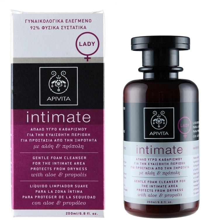 Sanfter Reinigungsschaum für die Intimhygiene mit Aloe und Propolis - Apivita Intimate  — Bild N1