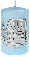 Düfte, Parfümerie und Kosmetik Dekorative Kerze Zylinder klein 7x10 cm blau - Artman Ice land