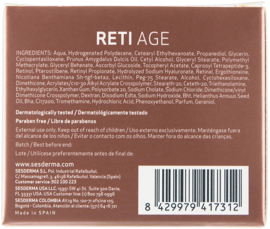 Anti-Aging Gesichtscreme mit 3-Retinol-System - SesDerma Laboratories Reti Age Facial Antiaging Cream 3-Retinol System — Bild N3