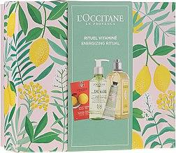 Düfte, Parfümerie und Kosmetik Gesichts- und Körperpflegeset - L'Occitane Energizing Ritual (Gesichtspeeling 6ml + Mizellenwasser 200ml + Duschgel 250ml + Handcreme 30ml)