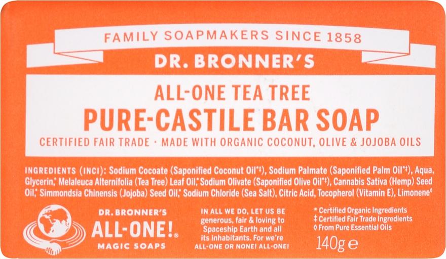Seife Teebaum - Dr. Bronner's Pure Castile Bar Soap Tea Tree