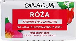 Düfte, Parfümerie und Kosmetik Körperseife mit Rosenblüten Extrakt - Gracja Rose Cream Soap With Rose Extract