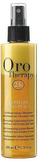 2-Phasiges revitalisierendes Haarspülung-Spray mit Gold, Keratin und Argan - Fanola Oro Therapy