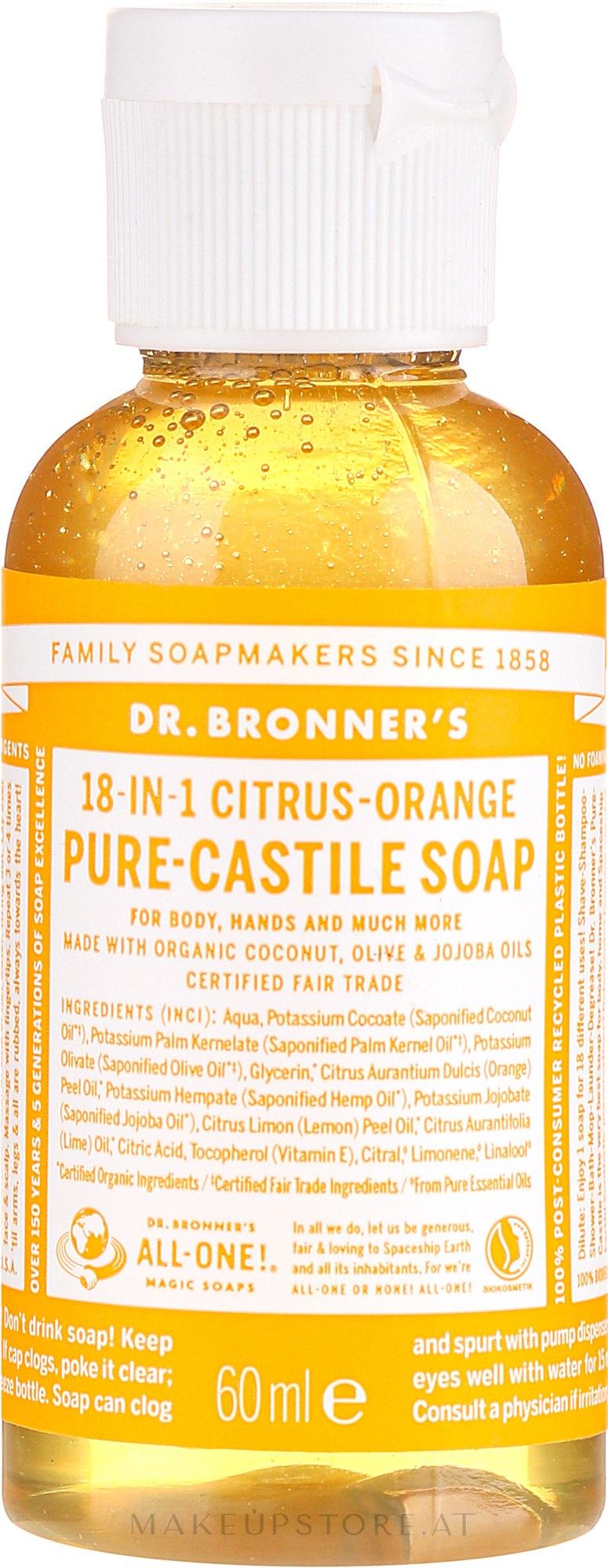 18in1 Flüssige Hand- und Körperseife mit Zitrus-Orange - Dr. Bronner's 18-in-1 Pure Castile Soap Citrus & Orange — Bild 60 ml