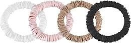 Düfte, Parfümerie und Kosmetik Scrunchie-Haargummi aus Naturseide Skinny 4 St. - Makeup Scrunchie Set Black Milk Powder Gold