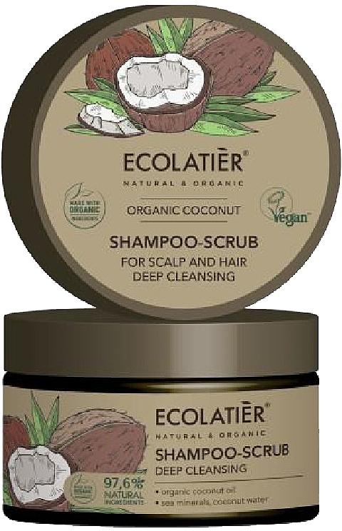 Reinigendes Haar-und Kopfhaut-Peelingshampoo mit Bio-Kokosnussöl, Meeresmineralien und Kokosnusswasser - Ecolatier Organic Coconut Shampoo-Scrub