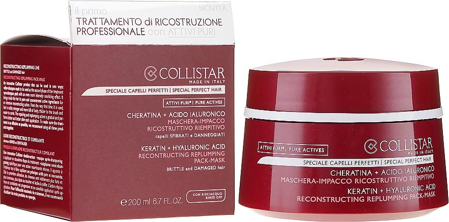 Regenerierende Haarmaske - Collistar Pure Actives Keratin + Hyaluronic Acid Reconstructive Replumping Mask