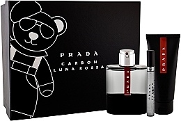 Düfte, Parfümerie und Kosmetik Prada Luna Rossa Carbon - Duftset (Eau de Toilette 100ml + Duschgel 100ml + Eau de Toilette Mini 10ml)