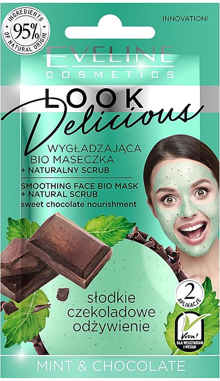 Glättende Gesichtsmaske mit Minze und Schokolade - Eveline Cosmetics Look Delicious Face Bio Mask