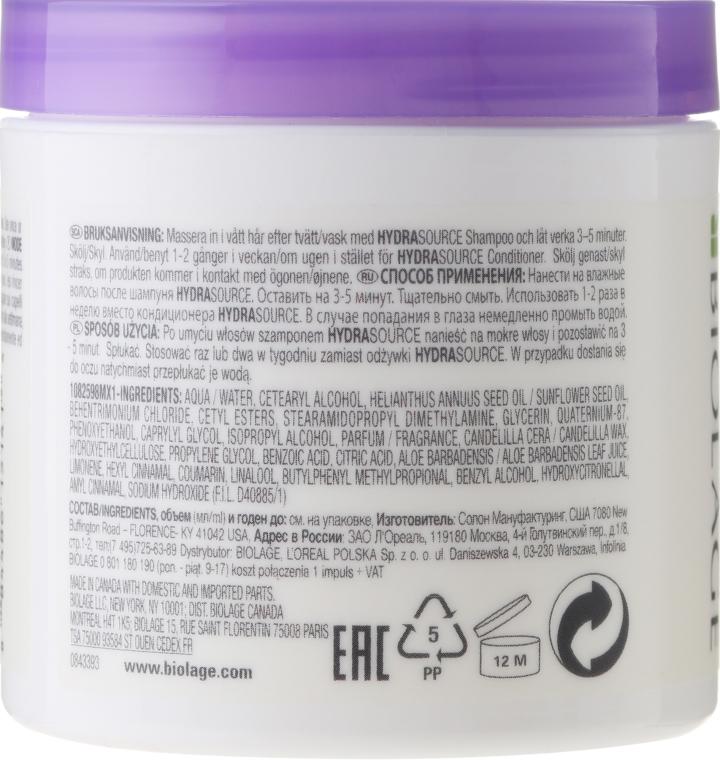 Feuchtigkeitsspendende Haarmaske für trockene Haut - Biolage Hydrasource Mask For Dry Hair — Bild N2