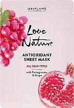 Düfte, Parfümerie und Kosmetik Antioxidative Gewebemaske mit Granatapfel und Traube - Oriflame Love Nature
