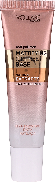 Mattierende Make-up Base mit Hyaluronsäure - Vollare Mattifying Oil Free Natural Extracts Base Long-Lasting Make Up