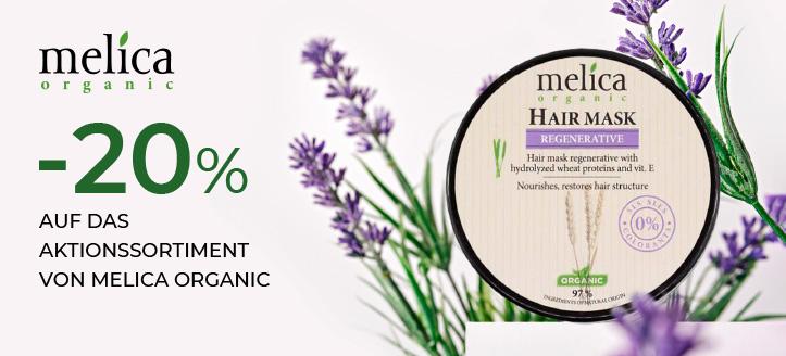 20% Rabatt auf das Aktionssortiment von Melica Organic. Die Preise auf der Website sind inklusive Rabatt