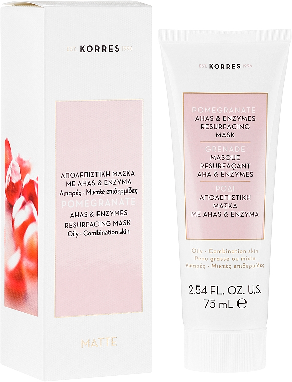 Porenverfeinernde Gesichtsmaske für fettige bis Mischhaut mit Granatapfel - Korres Pomegranate Ahas & Enzymes Resurfacing Mask