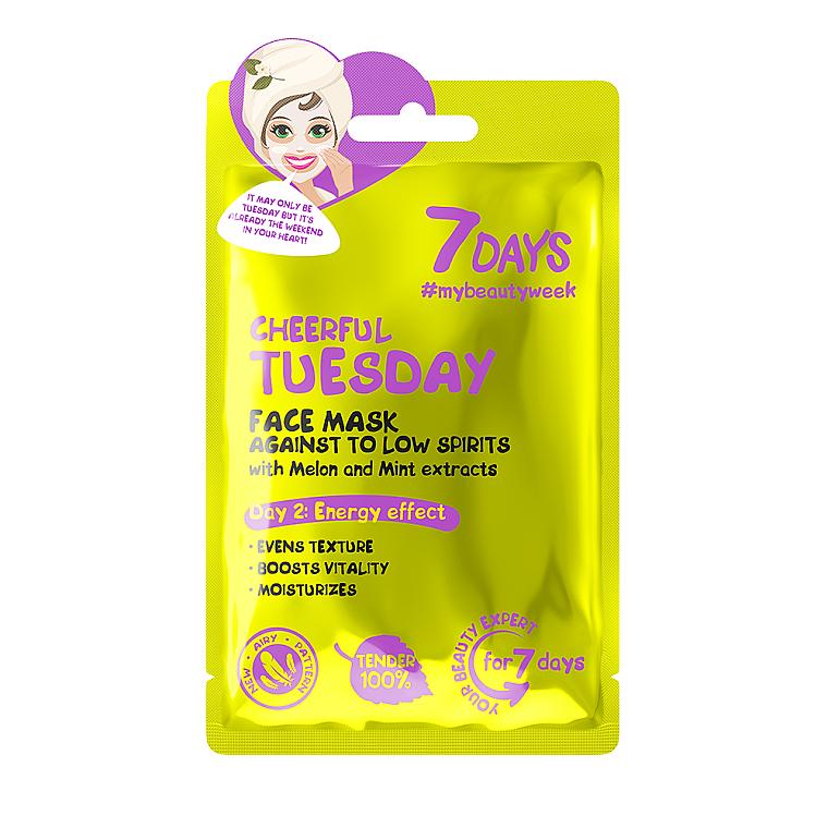 Tonisierende Gesichtsmaske mit Melonen- und Minzextrakt - 7 Days Cheerful Tuesday
