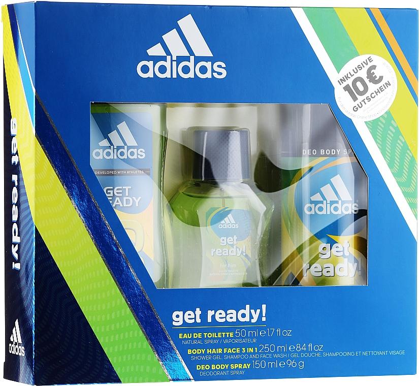 Adidas Get Ready for Him - Duftset (Eau de Toilette 50ml + Deospray 150ml + Duschgel 250ml)