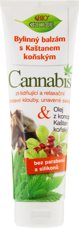 Massagebalsam mit Rosskastanien- und Hanföl - Bione Cosmetics Cannabis Herbal Ointment With Horse Chestnut
