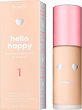 Düfte, Parfümerie und Kosmetik Aufhellende Foundation für ein makelloses Finish - Benefit Hello Happy Flawless