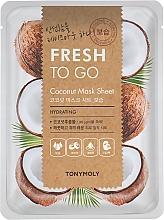 Düfte, Parfümerie und Kosmetik Feuchtigkeitsspendende Tuchmaske für das Gesicht mit Kokosextrakt - Tony Moly Fresh To Go Coconut Mask Sheet Hydrating