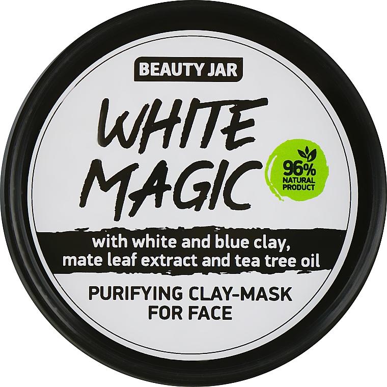 Reinigende Detox Gesichtsmaske mit weißem und blauem Ton, Mate-Strauch und Teebaumöl - Beauty Jar White Magic