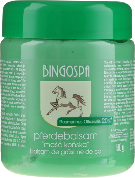 Pferdebalsam mit Rosmarinextrakt - BingoSpa Ointment Horse With Rosemary
