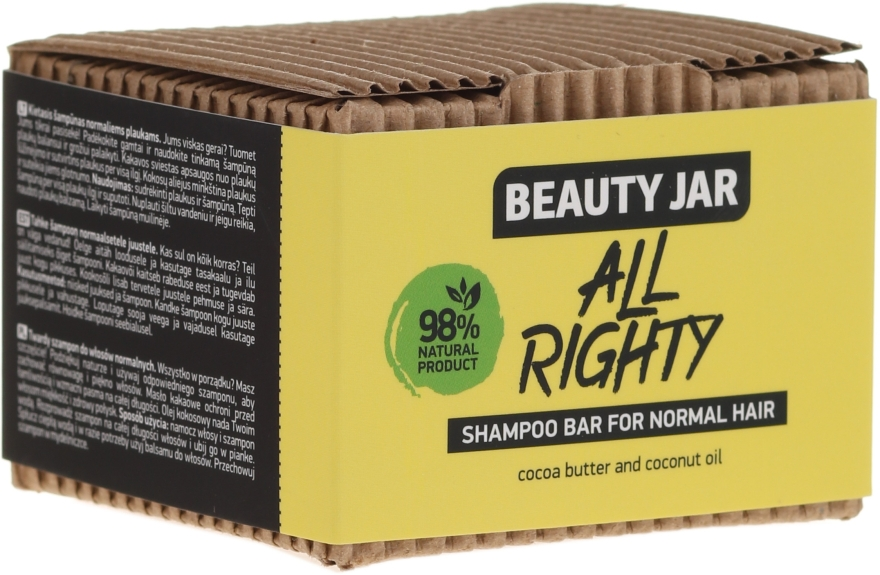 Festes Shampoo für normales Haar mit Kakaobutter und Kokosöl - Beauty Jar Hair Care All Righty Shampoo