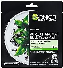 Düfte, Parfümerie und Kosmetik Mattierende schwarze Tuchmaske mit Bambuskohle - Garnier Pure Charcoal Tissue Mask
