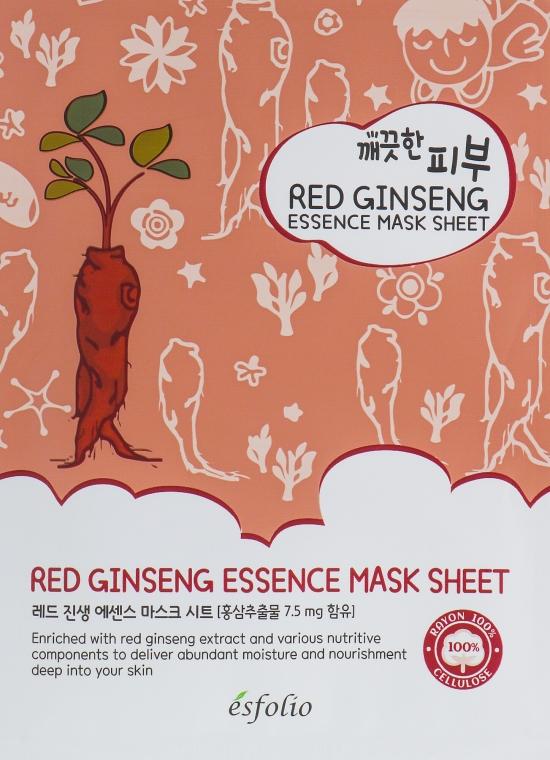 Feuchtigkeitsspendende und nährende Tuchmaske mit rotem Ginseng-Extrakt - Esfolio Pure Skin Red Ginseng Essence Mask Sheet