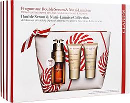 Düfte, Parfümerie und Kosmetik Gesichtspflegeset - Clarins Double Serum & Nutri-Lumiere Set (Gesichtsserum 30ml + Tagescreme 15ml + Nachtcreme 15ml + Kosmetiktasche)