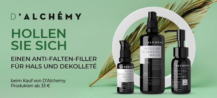 Beim Kauf von D'Alchemy Produkten ab 33 € erhalten Sie einen Anti-Falten-Filler für Hals und Dekolleté