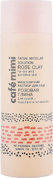 Mizellenwasser mit rosa Ton für trockene und empfindliche Haut - Cafe Mimi Facial Micellar Solution Rose Clay