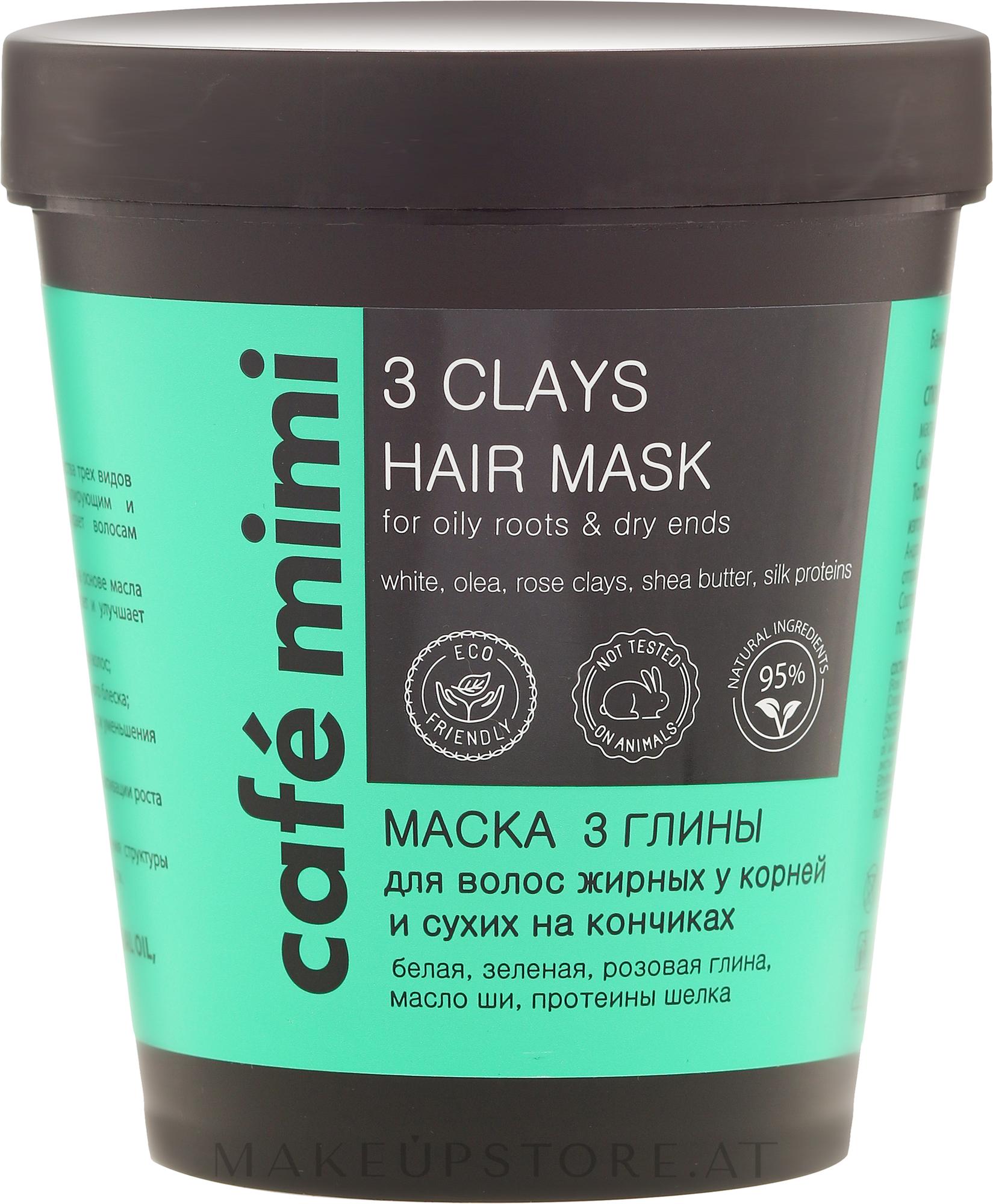 Haarmaske für fettige Wurzeln und trockene Enden mit weißer, grüner und rosa Tonerde - Cafe Mimi Mask — Bild 220 ml