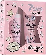 Düfte, Parfümerie und Kosmetik Körperpflegeset - 7 Days Illuminate Me Rose Girl (Körpermilch 150ml + Körpernebel 180ml)