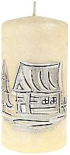 Düfte, Parfümerie und Kosmetik Dekorative Kerze Zylinder mittel 7x14 cm Creme - Artman Ice land