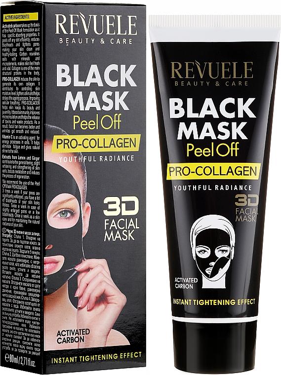 Peel-Off Gesichtsmaske mit Aktivkohle und Vitamin C - Revuele Black Mask Peel Off Pro-Collagen