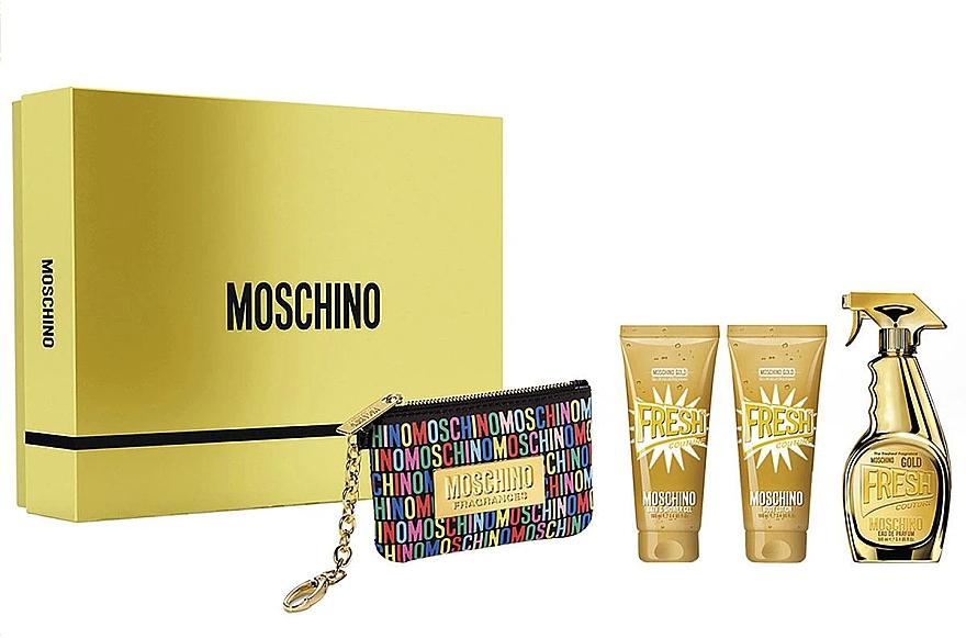 Moschino Gold Fresh Couture - Duftset (Eau de Parfum 100ml + Körperlotion 100ml + Duschgel 100ml + Kosmetiktasche)