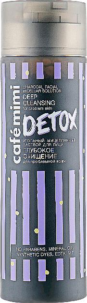 Tiefenreinigende Mizellen-Flüssigkeit mit Aktivkohle für Problemhaut - Cafe Mimi Detox Charcoal Facial Micellar Solution Deep Cleansing