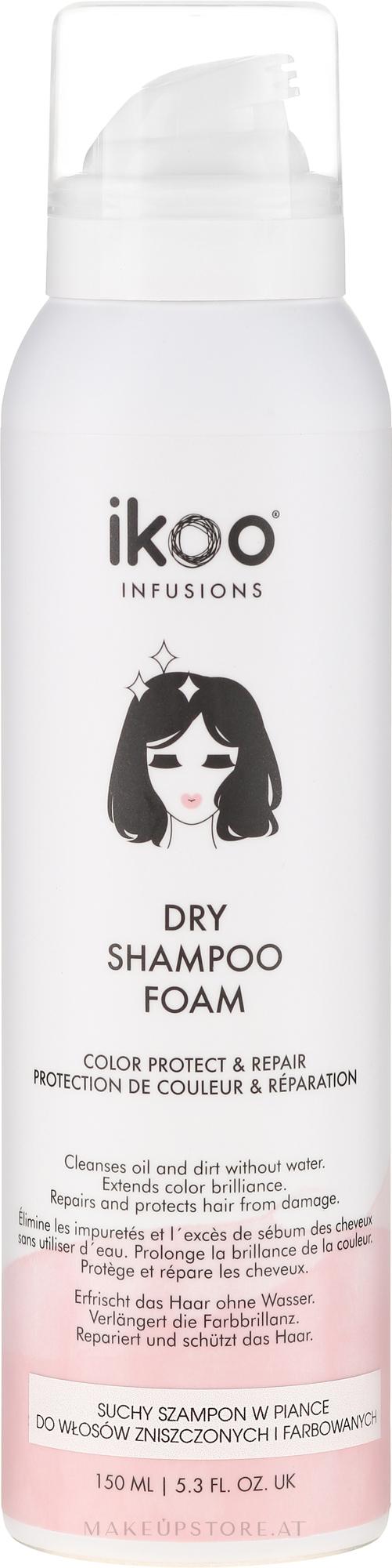 Reparierender und schützender Trockenshampoo-Schaum für mehr Farbbrillanz - Ikoo Infusions Shampoo Foam Color Protect & Repair — Bild 150 ml