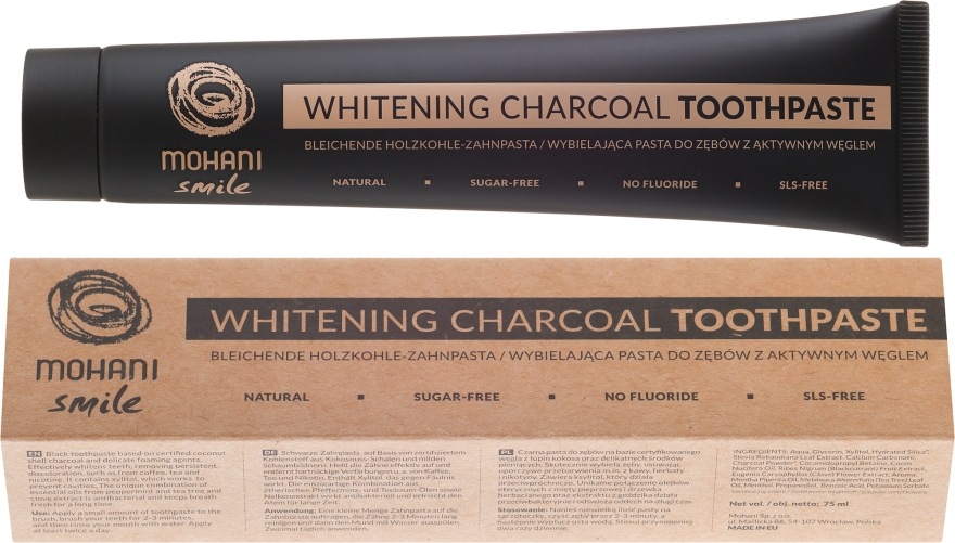 Natürliche bleichende Holzkohle-Zahnpasta - Mohani Smile Whitening Charcoal Toothpaste