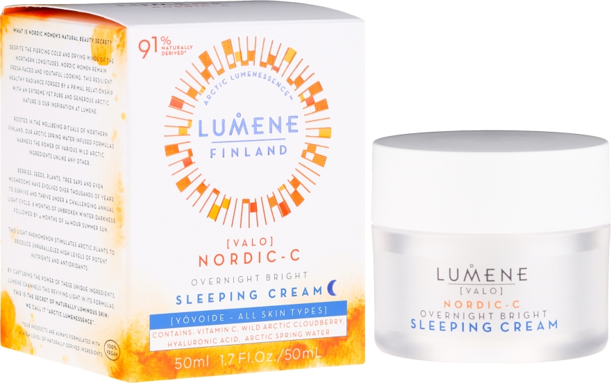 Aufhellende und feuchtigkeitsspendende Nachtcreme mit Vitamin C - Lumene Valo Overnight Bright Vitamin C Sleeping Cream