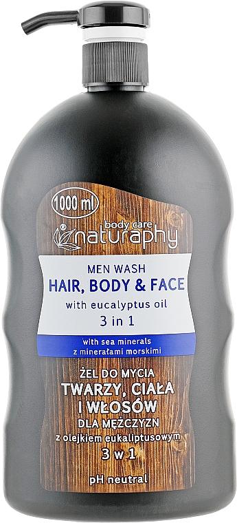 3in1 Waschgel für Gesicht, Körper und Haar mit Eukalyptusöl - Bluxcosmetics Naturaphy Men