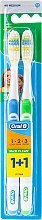 """Düfte, Parfümerie und Kosmetik Zahnbürsten-Set mittel """"1 2 3 Maxi Clean 40"""" blau und grün 2 St. - Oral-B 1 2 3 Maxi Clean 40 Medium 1+1"""