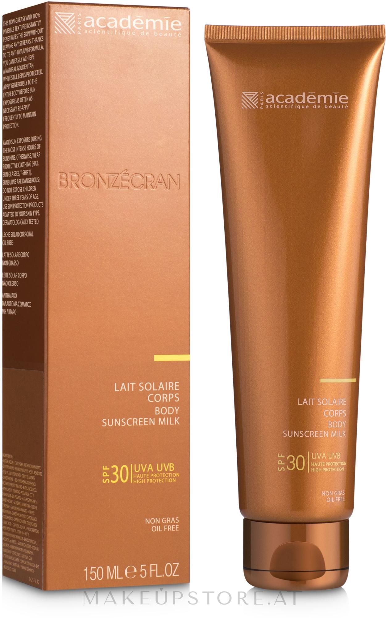 Sonnenschutzmilch für den Körper SPF 30 - Academie Bronzecran Body Sunscreen Milk High Protection — Bild 150 ml