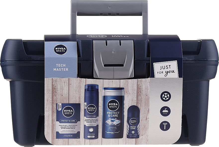 Gesichts- und Körperpflegeset - Nivea Men Tech Master (After Shave Balsam 100ml + Rasierschaum 200ml + Duschgel 250ml + Deo Roll-on Antitranspirant 50ml)