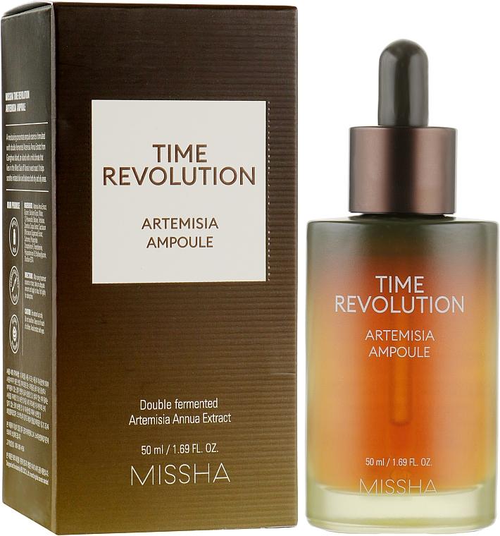 Konzentrierte seboregulierende und feuchtigkeitsspendende Gesichtsbehandlung mit Beifuß-Extrakt für empfindliche, irritierte und Aknehaut - Missha Time Revolution Artemisia Ampoule