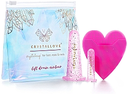 Düfte, Parfümerie und Kosmetik Silikon-Schröpfköpfe für Gesichts-, Hals- und Dekolleté-Massage - Crystallove Crystalcup For Face, Eyes & Neck Rose Set