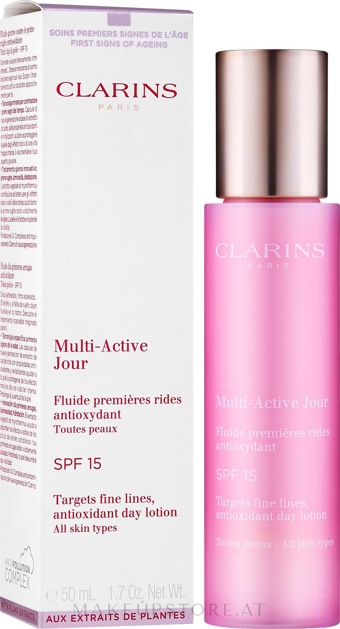 Antioxidative Tageslotion für alle Hauttypen - Clarins Multi-Active Antioxidant SPF15 Day Lotion — Bild 50 ml