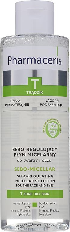 Antibakterielles Mizellen-Reinigungswasser zum Abschminken für fettige und zu Akne neigende Haut - Pharmaceris T Sebo-Micellar Solution Cleansing Make-Up Removal — Bild N1