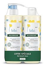 Düfte, Parfümerie und Kosmetik Pflegeset für Babys - Klorane Bebe Gentle Cleansing Gel (Reinigungsgel für Körper und Haar 500ml + Reinigungsgel für Körper und Haar Refill 500ml)